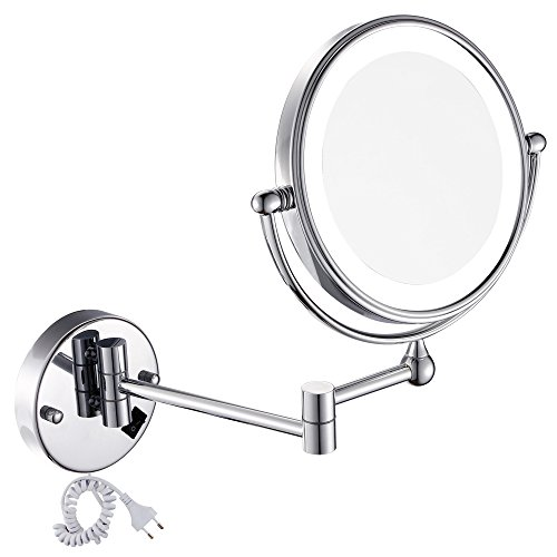 Gurun 85 inch led lighted wall mount makeup mirror with 7x gurun 85 inch led lighted wall mount makeup mirror with 7x magnificationchrome finish 1805d7x aloadofball Gallery